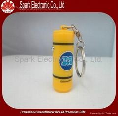 led bottle shape keychain  flashlight can shape keyring