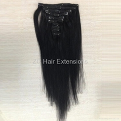 8inch-40inch Clip in on Hair Extensions Brazilian and Indian Human Hair
