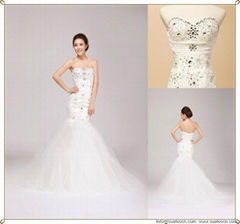 satin net wedding dress