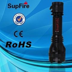 強光手電筒Y8(尾部帶刀卡設計可以割斷繩鎖安全帶,可直充,車充)