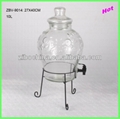 10L Glass beverage dispenser with iron stand
