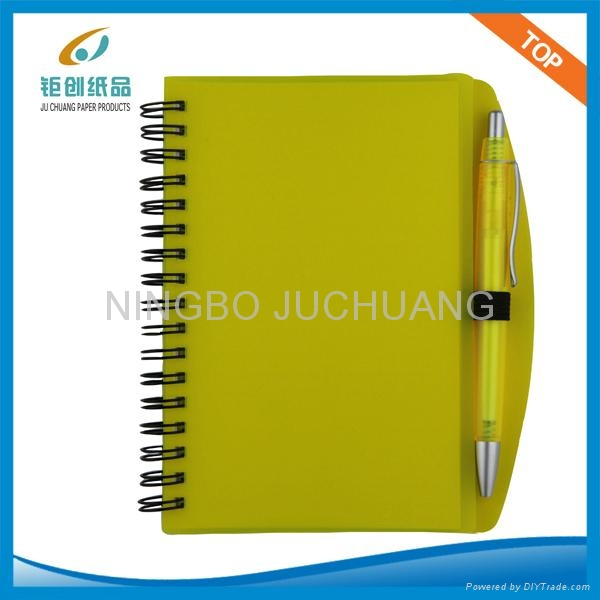 A4 Plastic cover spiral notebook with pen 1