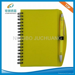 A4 Plastic cover spiral notebook with pen