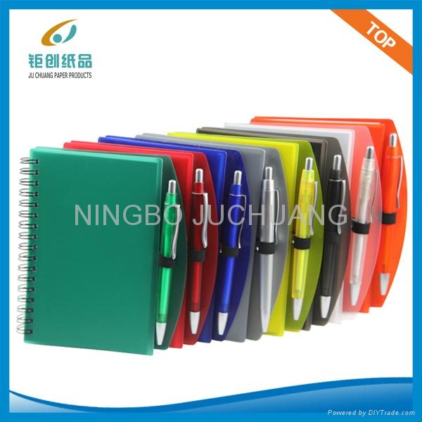 A4 Plastic cover spiral notebook with pen 3