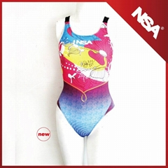 Digital print chlorine resistant girls beachwear