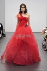 VERA WANG 紅色單肩蕾絲不規則拖尾婚紗禮服 婚紗廠定製