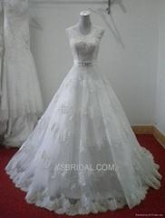 新款 PRONOVIAS華倫天奴法國蕾絲V領拖尾婚紗 真人實拍