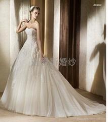 pronovias2013新款抹胸網紗法國蕾絲婚紗禮服
