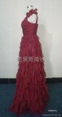 酒紅色雪紡荷葉邊小拖尾優雅禮服