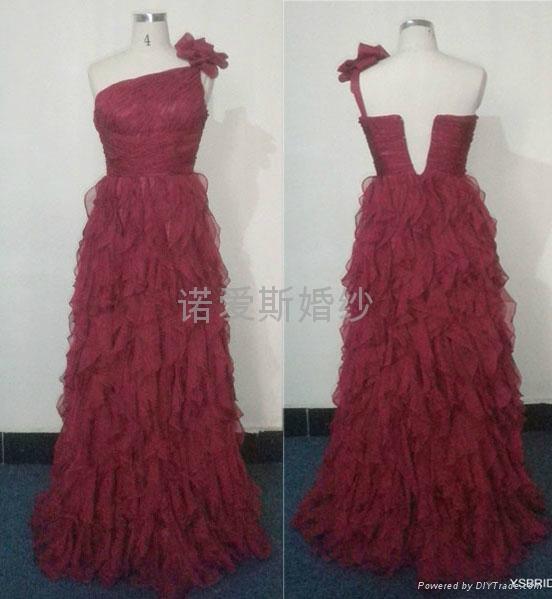 酒紅色雪紡荷葉邊小拖尾優雅禮服 2