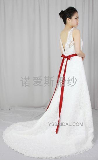 2014雙肩簡約A擺婚紗禮服 1