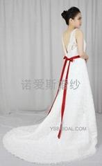 2014雙肩簡約A擺婚紗禮服