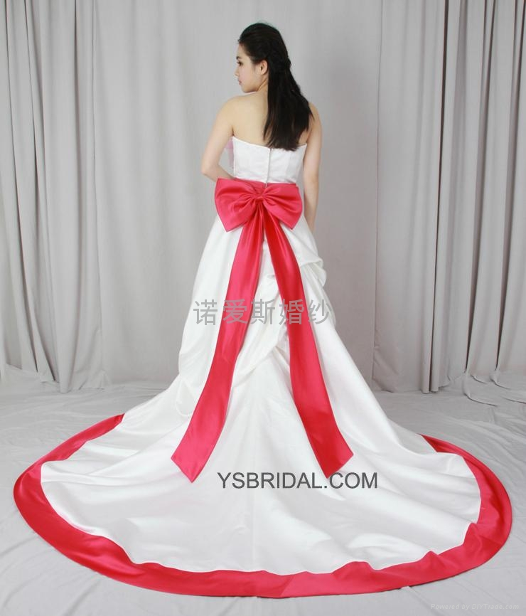 2014雙肩簡約A擺婚紗禮服 2
