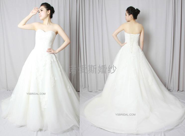 新款定製抹胸網紗法國蕾絲婚紗禮服 1