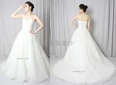 新款定製抹胸網紗法國蕾絲婚紗禮服