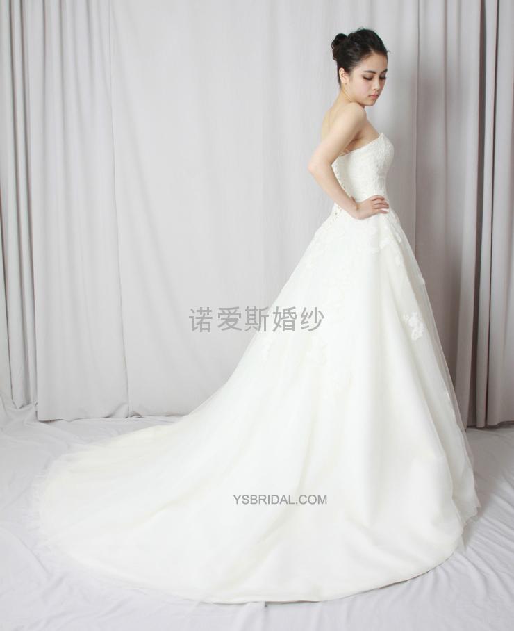 新款定製抹胸網紗法國蕾絲婚紗禮服 3
