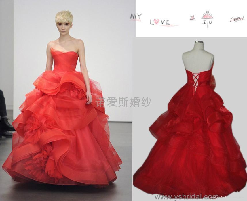 vera wang王微微红色婚纱晚礼服图片