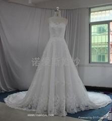 2013透視法國蕾絲大拖尾婚紗禮服