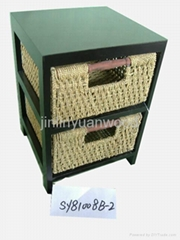 specical wooden storage cupboard with wicker drawers