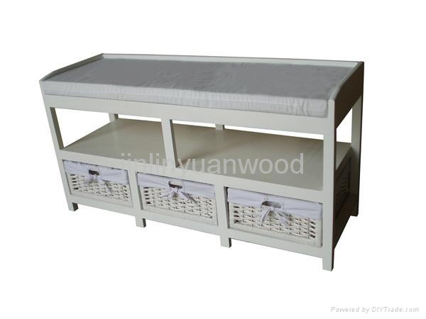 wooden storage cabinet with wicker drawers 1