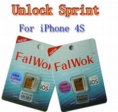 Wholesale - - Factory New FalWok Unlock Sim card Turbo adapter for iPhone 4S iOS
