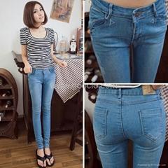 韩版小脚裤修身显瘦浅蓝