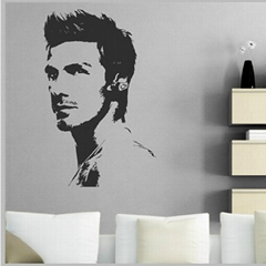 PVC David Beckham Pattern Home Decor Window Sticker Door Decal