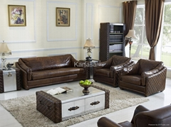 Sofa set in 3+1+1 vintage leather