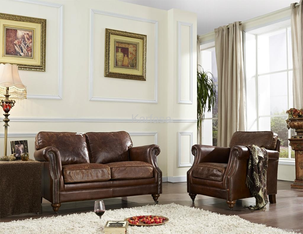 Vintage leather sofa set - 3008 - Karfasa (China Manufacturer ...