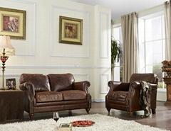 Vintage leather sofa set