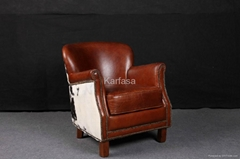 armchair in vintage leather and Fur