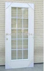 steel door slab with tempered glass