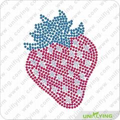 attractive strawberry design! hot fix rhinestone design