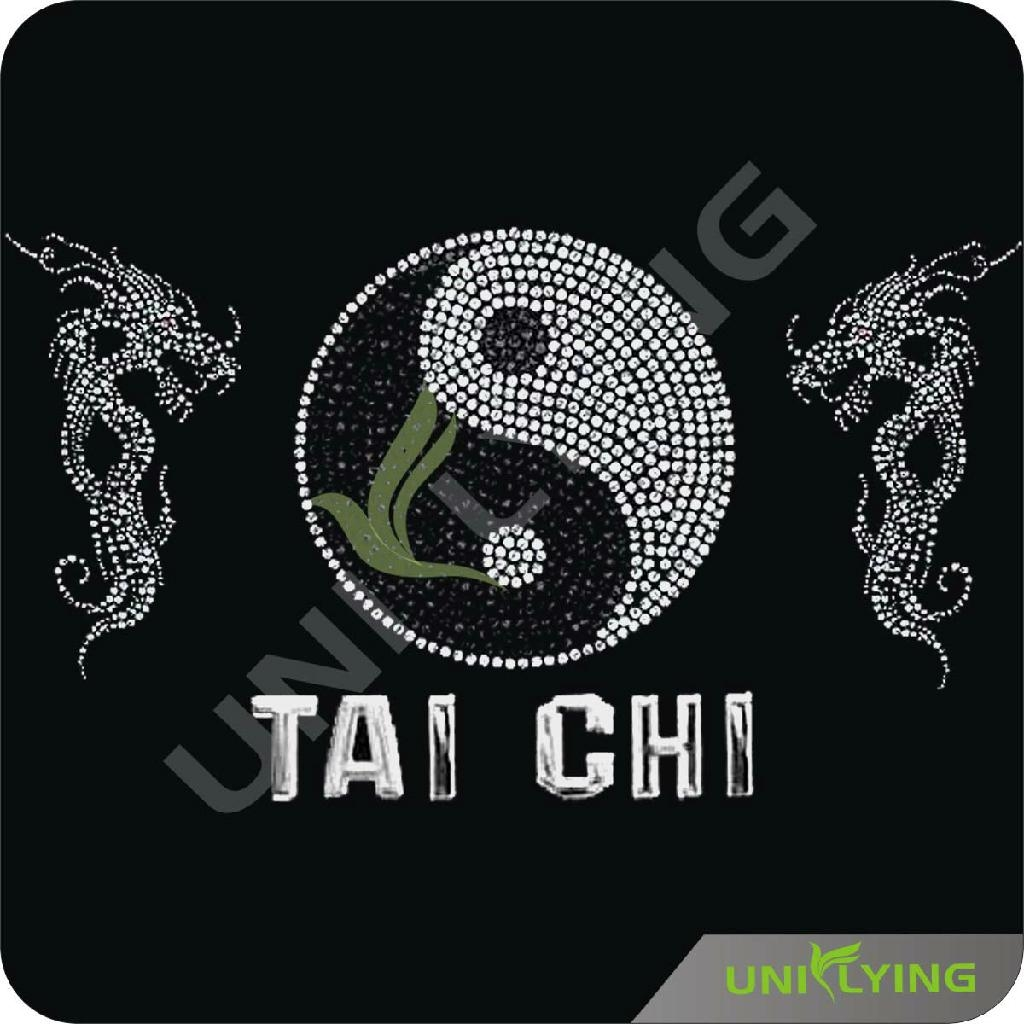Chinse traditional Tai Chi sign hot fix rhinestone motif 1