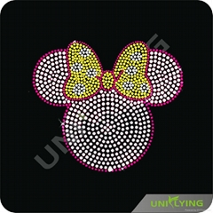 Pink Minnie Mouse heat rhinestone motifs