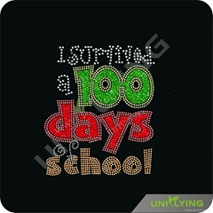 100 days for school heat rhinestone transfer