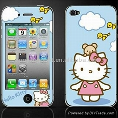 Cartoon screen protector for iPhone 4 / 4s with hello kitty pattern