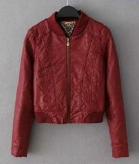 Ladies red pu leather jacket