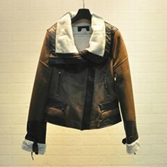 Ladies faux fur with suede fabric biker