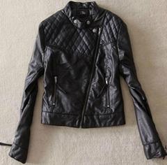 Ladies pu leather bike jacket