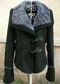 Ladies faux fur jacket with buffalo buttons trim 1