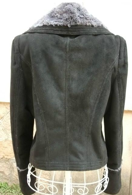 Ladies faux fur jacket with buffalo buttons trim 2