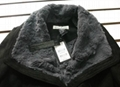 Ladies faux fur jacket with buffalo buttons trim 3