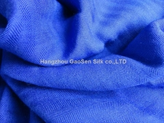 Scarf worsted woven herringbone silk wool fabric