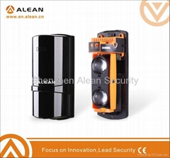 Photoelectric dual beam sensor in security alarm system