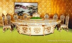 歐式松香玉電動餐桌