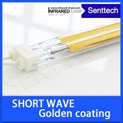 Short wave infrared heating lamp with golden coating