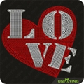 Special love iron on rhinestone design