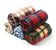 Plaid Check Printed Polar Fleece Blankets