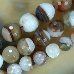 6mm 8mm 10mm 12mm 14mm coffee stripe agate round faceted loose Beads 15""